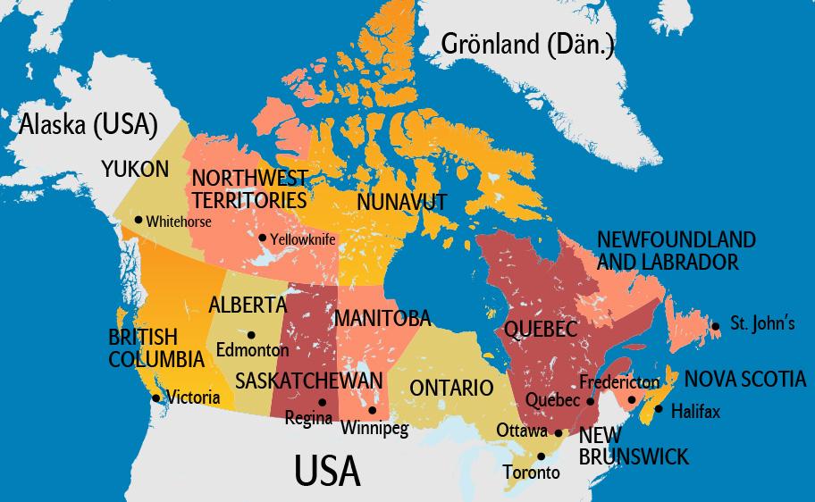 Kanada Karte, Landkarte Kanada